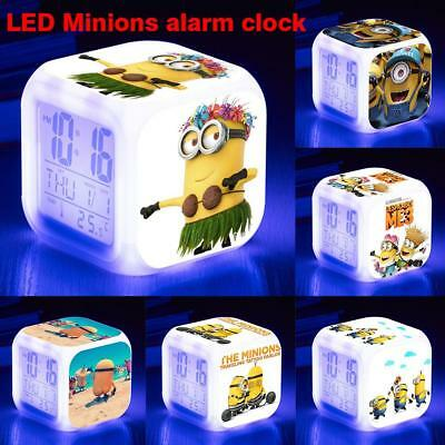 Cartoon LED Digital Glowing Alarm Clock Night Light Thermometer For Bedroom Kids