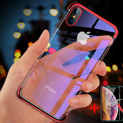 For Apple iPhone XR XS MAX Clear Plation Soft TPU Case Slim Cover Tempered Glass