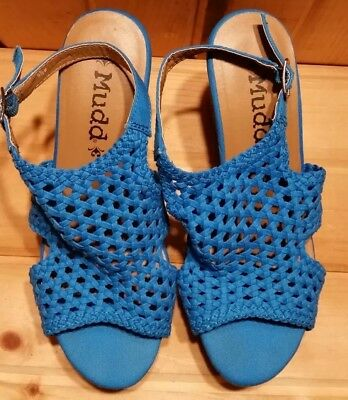 e3dc8e15aa1 Women s Wedge Sandals size 9.5 Blue Ankle Strap Wedges Mudd