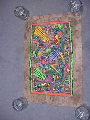 """Vintage Mexican Amate Bark Painting Hand Painted Folk Art 16"""" x 34"""" Free Ship"""