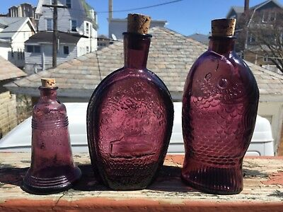3 Vintage Wheaton Glass Amethyst Bottles and cork stopper circa 1970's