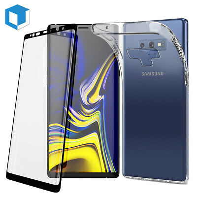 For Samsung Galaxy Note 9 Tempered Glass Screen Protector +Clear Back Case Cover