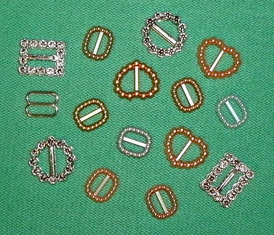 15 small Plastic buckles, doll sewing clothes belts crafts. 'MIXED METALLICS'