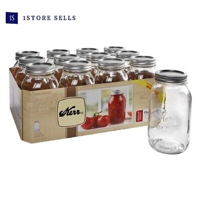 New Kerr Regular Mouth Quart Glass Mason Jars with Lids and Bands 32oz 12 Count