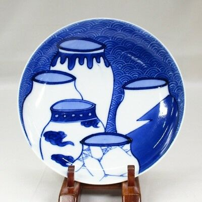 G140: Japanese plate of old NABESHIMA blue-and-white porcelain with fine tone