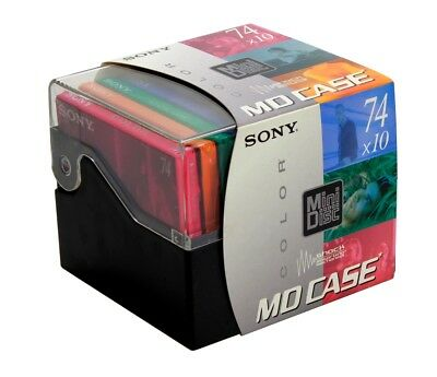 Lot 10 MiniDisc Sony Color Collection  MD Case mini disc 74  Neuf (Réf#S-212)