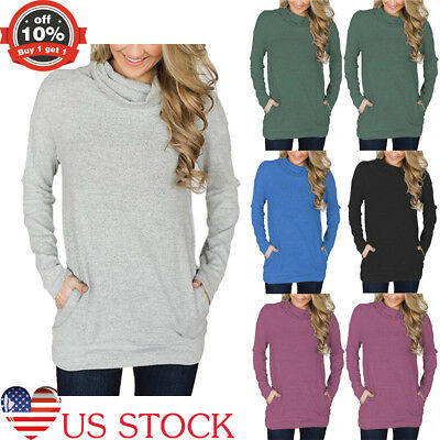 Womens Lady Long Sleeve Turtleneck Casual Thin Pullover Trench Blosue Tops S-2XL