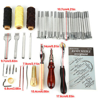 48tlg Leder Werkzeug Leather Craft Hand Sewing Stitching Groover DIY FA 06