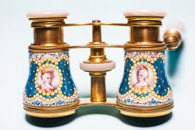 Antikes Opernglas Lemaire Fi, Um 1846. Emaille. Top Zustand-French Opera Glasses