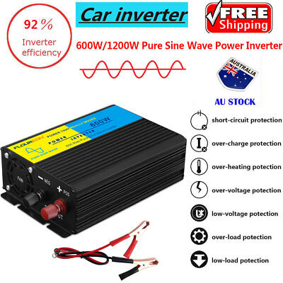 600W/1200W Car Inverter Converter Pure Sine Wave Power Charger for Camping Boat