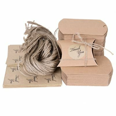 100x Brown Kraft Paper Gift Bags Party Candy Favour Bag Pouch with Stickers Rope