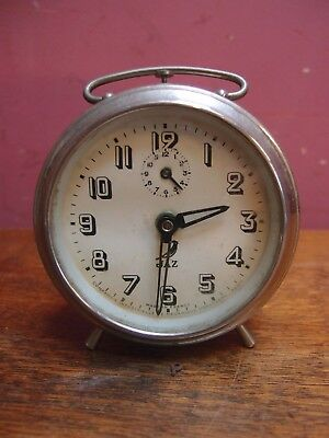 VINTAGE 1930s FRENCH ALARM CLOCK by JAZ NICKLE PLATED CASE WORKING ORDER