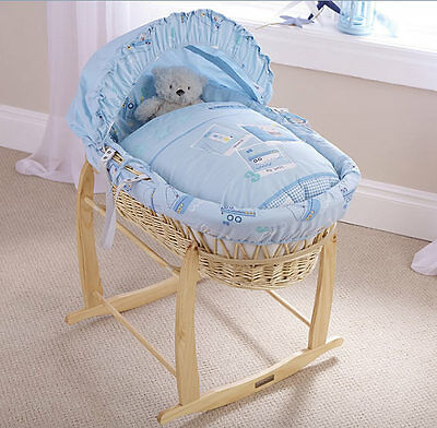 New Clair de lune natural wicker moses basket in Ahoy with deluxe rocking stand