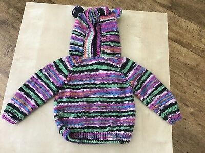 Hand Knitted Baby Hooded Jumper for Approx 12 to 18 months