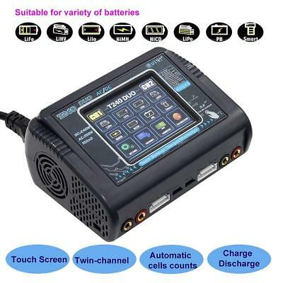 DUO AC 150W DC 240W 10A Touch Screen Dual Channel Battery Charger For HTRC T240