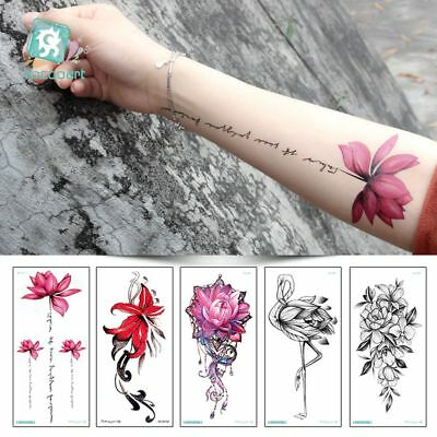 Waterproof Sexy Body Art 3D Flower Flamingo Temporary Decal Arm Tattoo Sticker A