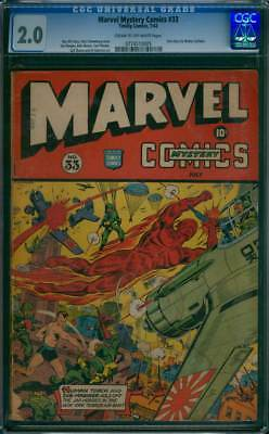 Marvel Mystery Comics # 33 Torch/Sub-mariner cover !  CGC 2.0 scarce GA Timely !
