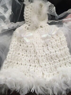 Baby Girls Christening Cape  Handmade With Fur Trim And Crystal Bows