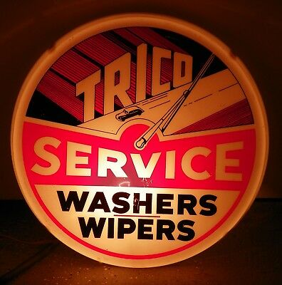1940's-1950's TRICO WASHERS & WIPERS SERVICE LIGHT UP GAS STATION SIGN