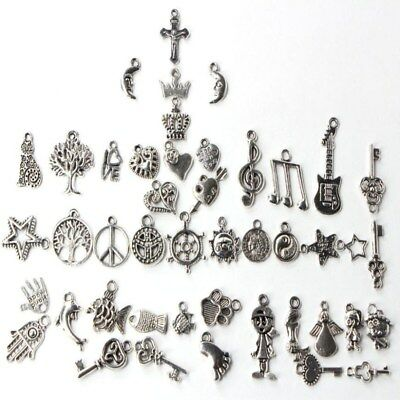 100pcs Tibet Silver Many Shape Charm Pendants Beads For Jewelry Making Craft