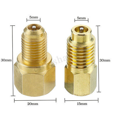 2PCS Vacuum Pump Brass Adapters R134A to R12 & R12 to R134A For Air Conditioning