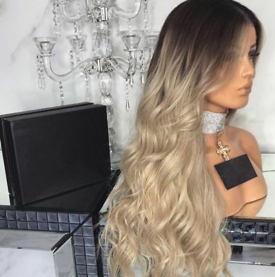 """28"""" Women Long Curly Blonde Ombre Wigs Synthetic Hair Natural Full Wavy Wig UK"""