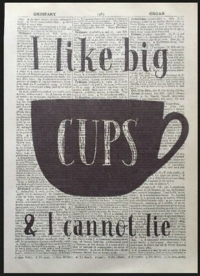 Big Cups Coffee Tea Quote Vintage Dictionary Print Wall Art Picture Cafe Kitchen