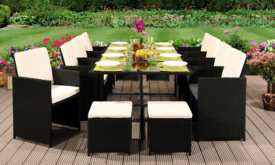 11Pc Rattan Garden Furniture Cube Set Chairs Sofa Table Outdoor Patio