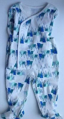 Rosie Pope set of 2 baby outfit with geometric design, teal mountains blues