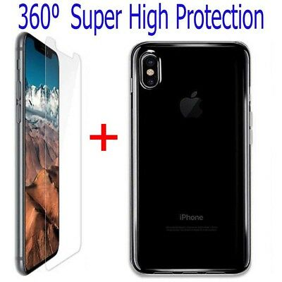 iPhone X Xs Max Tempered Glass Screen Protector + Silicone Clear Case Gel Cover