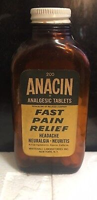 Vintage Brown Glass Bottle Anacin Fast Pain Relief