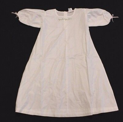 American Girl Girl's Floral Embroidered Tie Sleeve Nightgown White IT3 Size XS