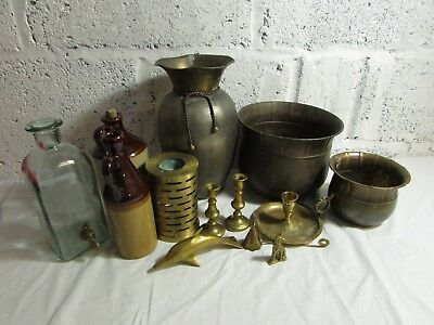 Vintage Job Lot of Brass ware Pots Vase Jug Old Figures Glazed Stoneware Bundle