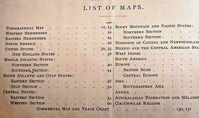 """1887 Maps in >> BUTLER'S  COMPLETE GEOGRAPHY Book LARGE 12"""" x 10"""" > 141 Pages"""