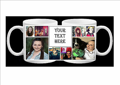 PERSONALISED PHOTO COLLAGE MUG 8 PHOTOS & TEXT (birthday,christmas) FREE P&P