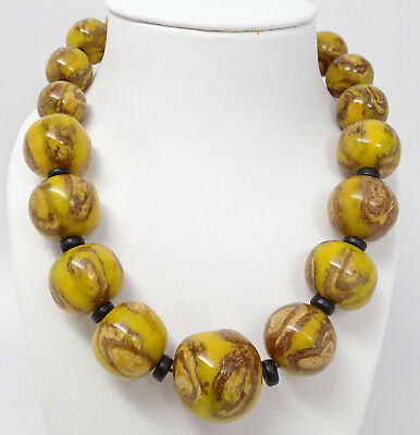 Vintage Antique Ethnic Tribal Huge Yellow Lacquer Bead Necklace