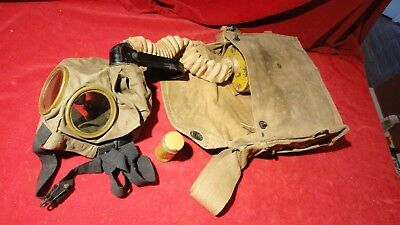 Great Ww1 Era U S Gas Mask With Canvas Case -Instruction Booklet-Face Mask