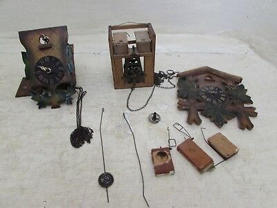 2 Vintage Twin Weight Small Cuckoo Clocks For Spares Or Repairs Forestall