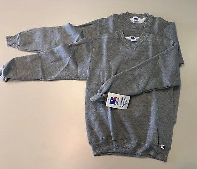 Lot of 2 NOS Russell Vintage 80s 70s Grey Tri-blend Sweatshirts Youth Large S