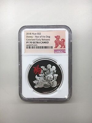 2018 Niue Disney Lunar Year of the Dog 1 oz Silver $2 NGC PF70 UC ER