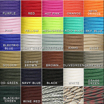HOT 550 Paracord Parachute Cord Lanyard Mil Spec Type III 7 Strand Core 100 FTa@