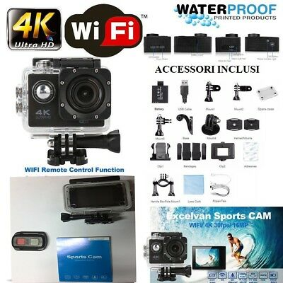 Camera 4K Wifi Ultra Hd 16Mp Videocamera Con Telecomando Resistente All'acqua