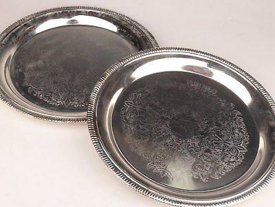 2 High - Grade Tray Plated With Silver Decorated With Beautiful Dark Flower