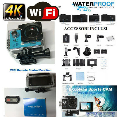 Camera 4K Wifi Ultra Hd 16Mp Videocamera Con Telecomando Resistent All'acqua Blu