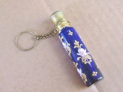 Antique French Blue Glass And Chatelaine Perfume/scent Bottle -19Th C