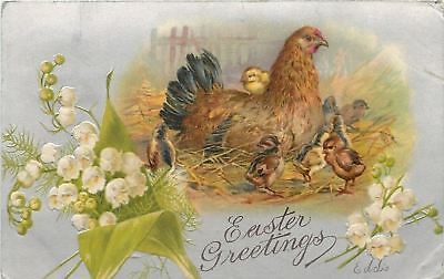 Easter~Hen on Nest~Newborn Multicolor Chicks~Lily of Valley~Emboss~Silver~1907