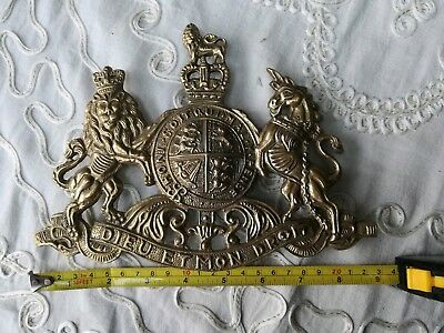 Victorian Embossed Brass Royal Coat Of Arms