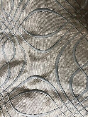 Grey/blue Embroidered Curtain Fabric Linen  - 6m  RRP Over £100pm Top Quality