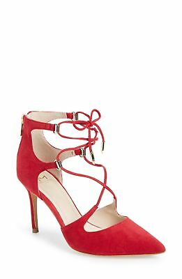 25bc6eb51a51 Marc Fisher Womens Toni Suede Closed Toe Ankle Strap Classic, Red, Size 9.0  qofp