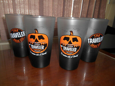 4 NEW The Traveler Beer Co. Pumpkin Shandy 16 Ounce (Pint)Halloween